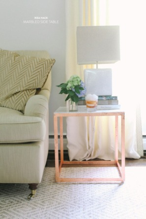 DesignJoyBlog DIY Ikea VITTSJÖ Hacks Cooper and Marble Sidetable